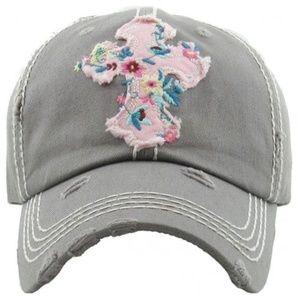 GREY, FLORAL CROSS WASHED VINTAGE CAP